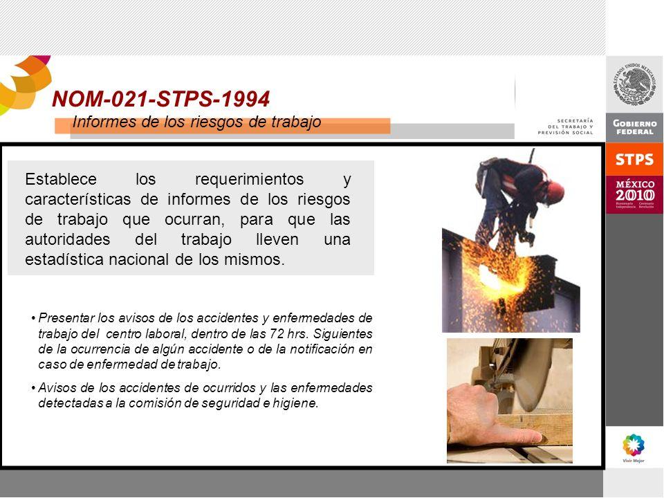 NOM-021-STPS-1994 Informes de los riesgos de trabajo Establece los requerimientos y características de informes de los riesgos de trabajo que ocurran,
