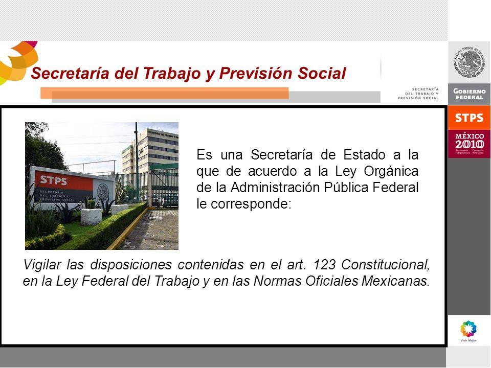 Secretaría del Trabajo y Previsión Social Vigilar las disposiciones contenidas en el art. 123 Constitucional, en la Ley Federal del Trabajo y en las N