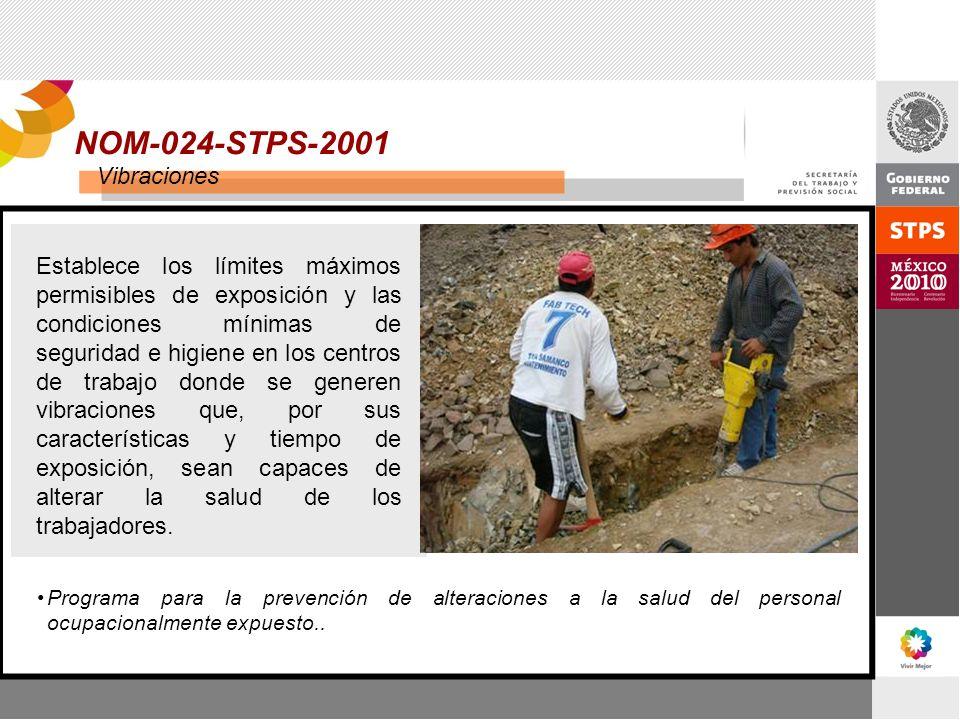 NOM-024-STPS-2001 Vibraciones Establece los límites máximos permisibles de exposición y las condiciones mínimas de seguridad e higiene en los centros