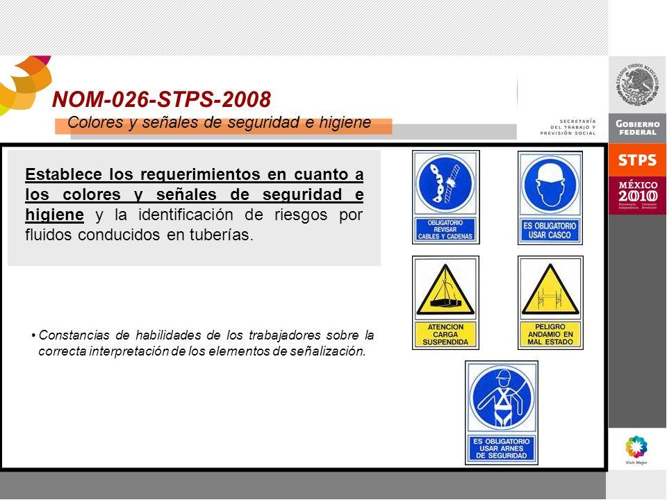 NOM-026-STPS-2008 Colores y señales de seguridad e higiene Establece los requerimientos en cuanto a los colores y señales de seguridad e higiene y la