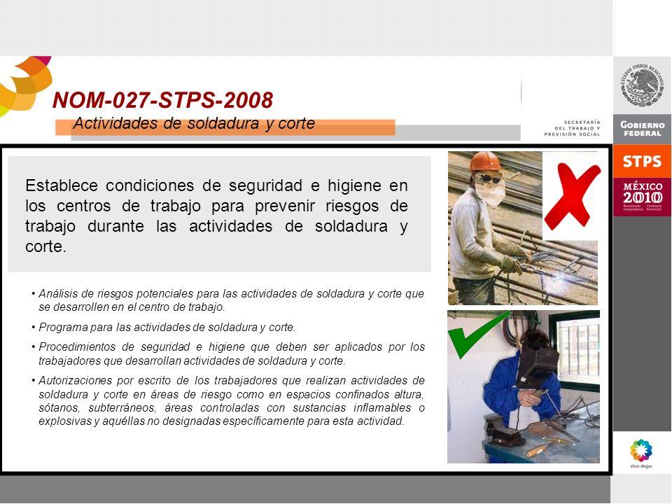 NOM-027-STPS-2008 Actividades de soldadura y corte Establece condiciones de seguridad e higiene en los centros de trabajo para prevenir riesgos de tra