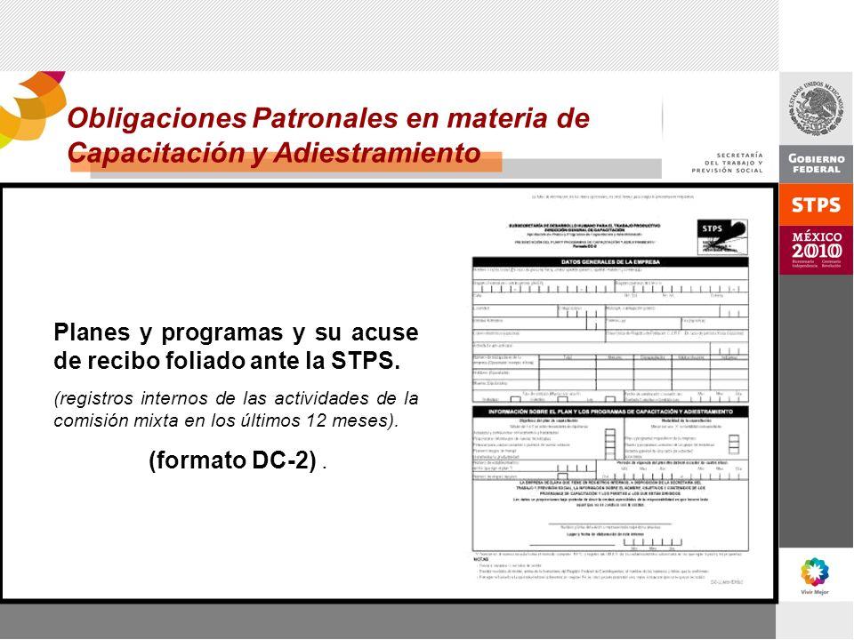 Planes y programas y su acuse de recibo foliado ante la STPS. (registros internos de las actividades de la comisión mixta en los últimos 12 meses). (f