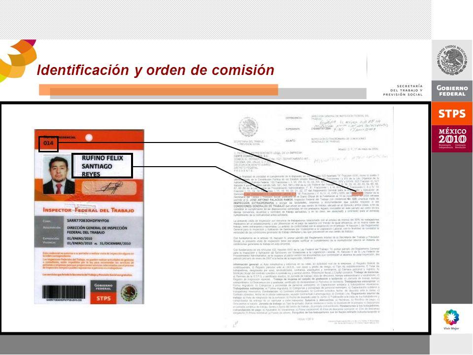 Identificación y orden de comisión