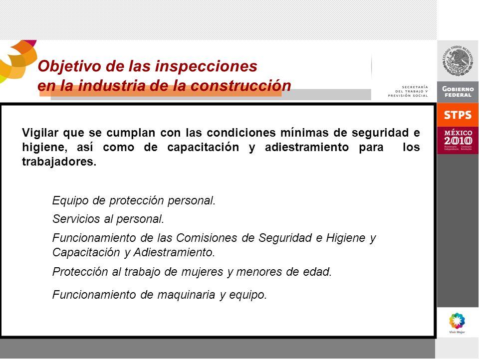 Objetivo de las inspecciones en la industria de la construcción Vigilar que se cumplan con las condiciones mínimas de seguridad e higiene, así como de