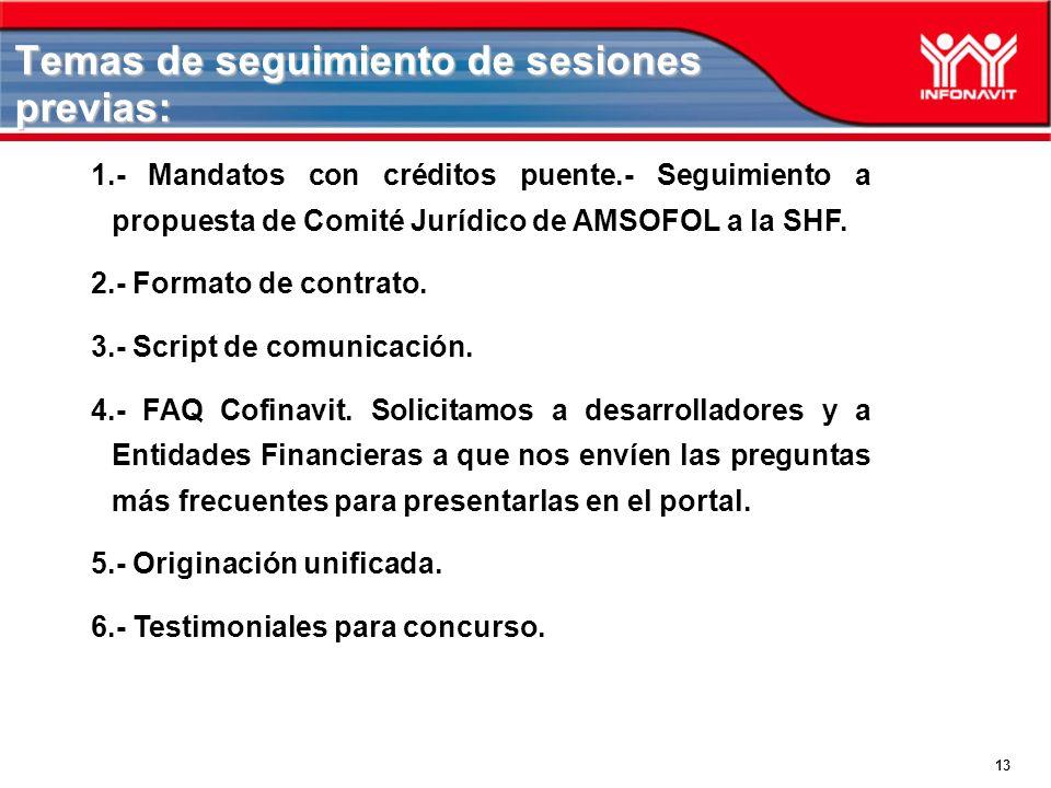 13 Temas de seguimiento de sesiones previas: 1.- Mandatos con créditos puente.- Seguimiento a propuesta de Comité Jurídico de AMSOFOL a la SHF. 2.- Fo