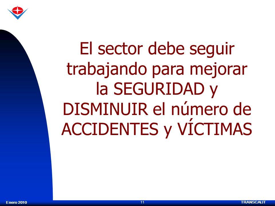 TRANSCALIT 11 Enero 2010 El sector debe seguir trabajando para mejorar la SEGURIDAD y DISMINUIR el número de ACCIDENTES y VÍCTIMAS