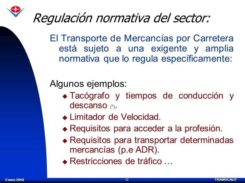 TRANSCALIT 12 Enero 2010 Regulación normativa del sector: El Transporte de Mercancías por Carretera está sujeto a una exigente y amplia normativa que