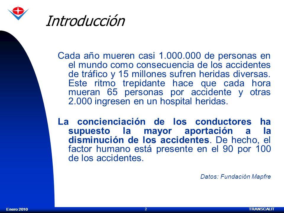 TRANSCALIT 2 Enero 2010 Introducción Cada año mueren casi 1.000.000 de personas en el mundo como consecuencia de los accidentes de tráfico y 15 millon