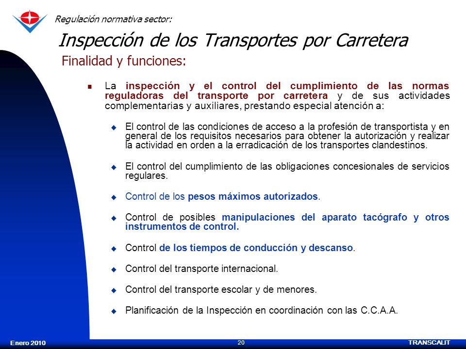 TRANSCALIT 20 Enero 2010 Inspección de los Transportes por Carretera La inspección y el control del cumplimiento de las normas reguladoras del transpo