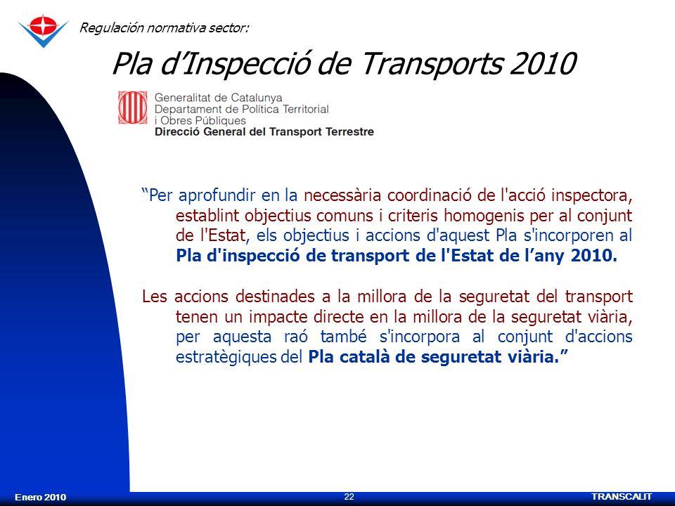 TRANSCALIT 22 Enero 2010 Pla dInspecció de Transports 2010 Regulación normativa sector: Per aprofundir en la necessària coordinació de l'acció inspect