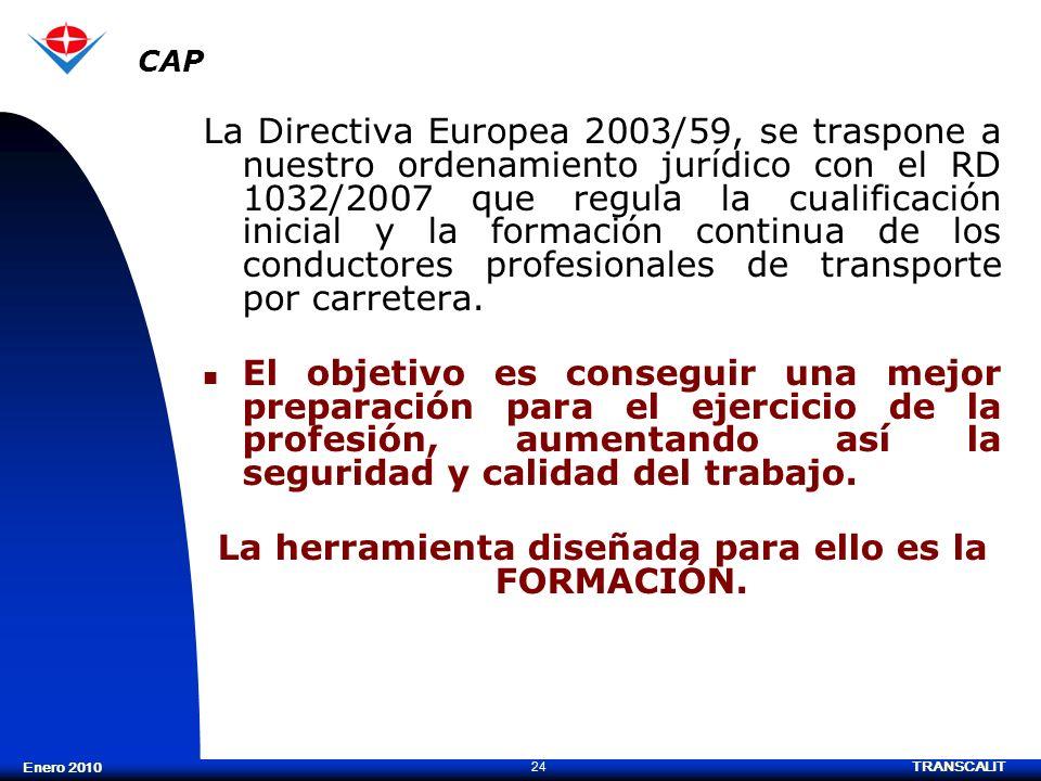 TRANSCALIT 24 Enero 2010 La Directiva Europea 2003/59, se traspone a nuestro ordenamiento jurídico con el RD 1032/2007 que regula la cualificación ini
