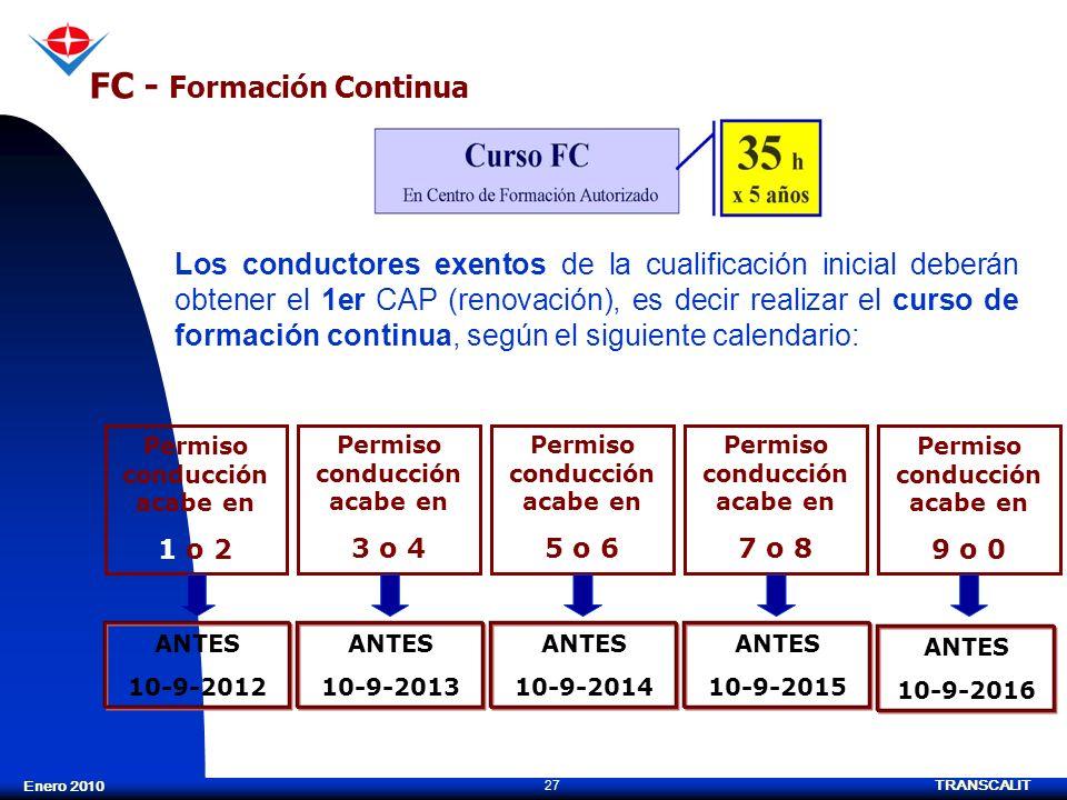 TRANSCALIT 27 Enero 2010 FC - Formación Continua Los conductores exentos de la cualificación inicial deberán obtener el 1er CAP (renovación), es decir