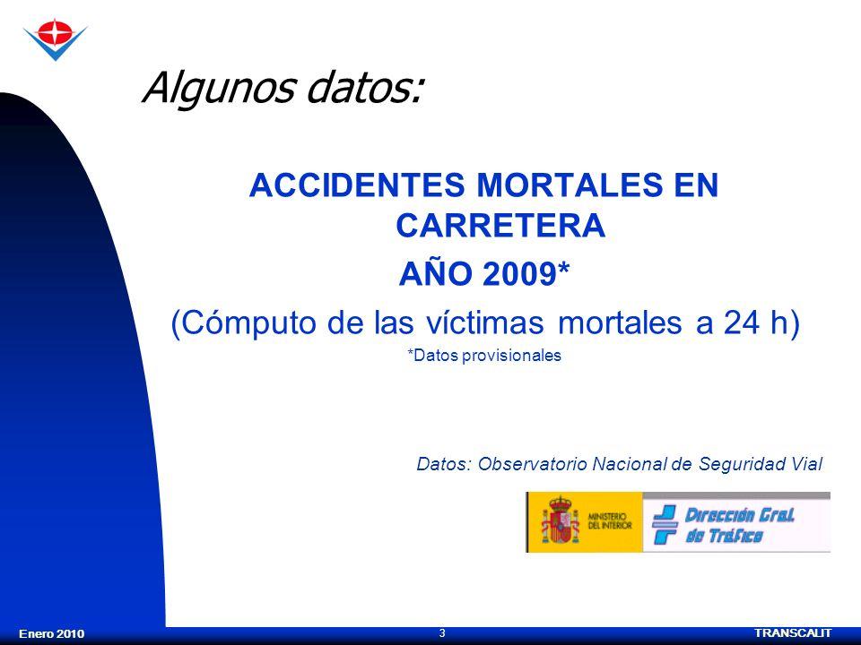 TRANSCALIT 3 Enero 2010 Algunos datos: ACCIDENTES MORTALES EN CARRETERA AÑO 2009* (Cómputo de las víctimas mortales a 24 h) *Datos provisionales Datos