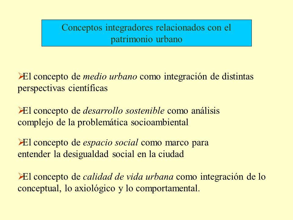 Conceptos integradores relacionados con el patrimonio urbano El concepto de medio urbano como integración de distintas perspectivas científicas El con