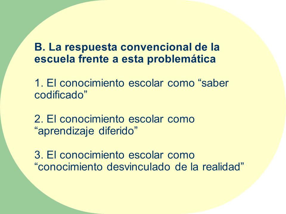 B. La respuesta convencional de la escuela frente a esta problemática 1. El conocimiento escolar como saber codificado 2. El conocimiento escolar como