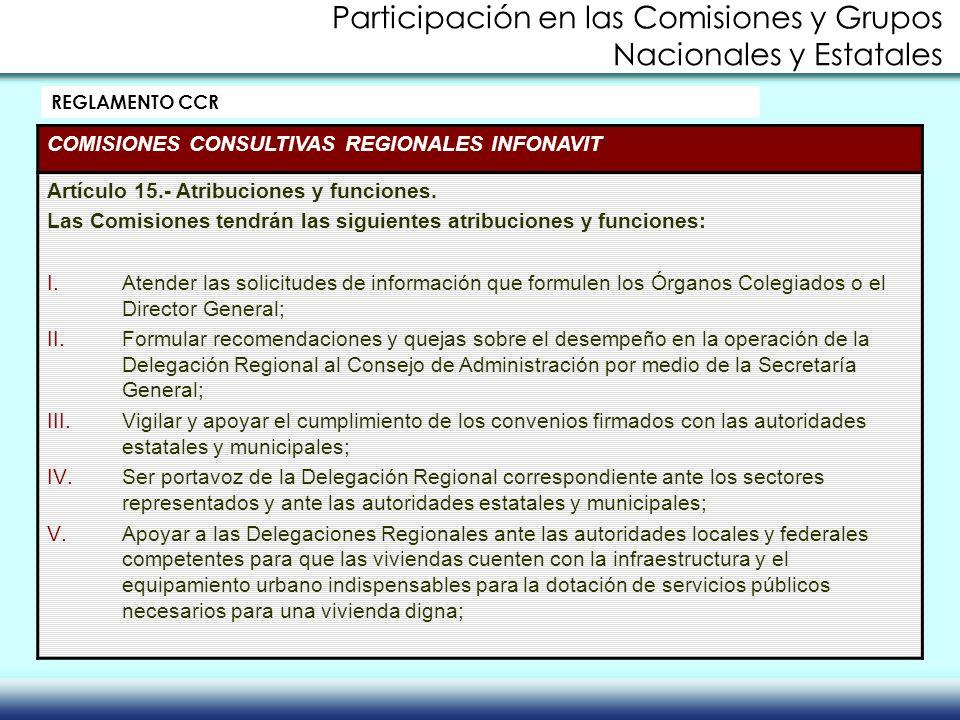 REGLAMENTO CCR COMISIONES CONSULTIVAS REGIONALES INFONAVIT Artículo 15.- Atribuciones y funciones. Las Comisiones tendrán las siguientes atribuciones