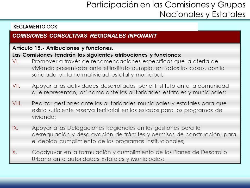 COMISIONES CONSULTIVAS REGIONALES INFONAVIT Artículo 15.- Atribuciones y funciones. Las Comisiones tendrán las siguientes atribuciones y funciones: VI