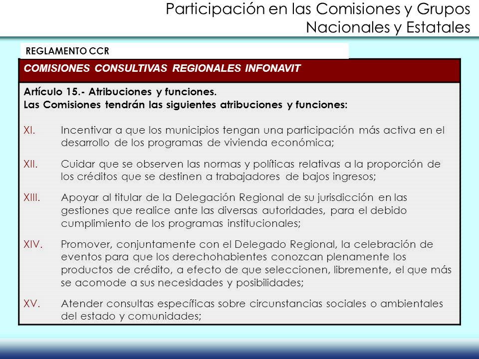 COMISIONES CONSULTIVAS REGIONALES INFONAVIT Artículo 15.- Atribuciones y funciones. Las Comisiones tendrán las siguientes atribuciones y funciones: XI