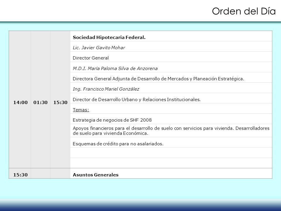 14:00 01:30 15:30 Sociedad Hipotecaria Federal. Lic. Javier Gavito Mohar Director General M.D.I. María Paloma Silva de Anzorena Directora General Adju