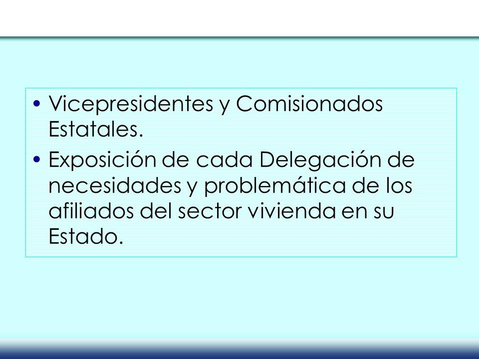 Vicepresidentes y Comisionados Estatales. Exposición de cada Delegación de necesidades y problemática de los afiliados del sector vivienda en su Estad