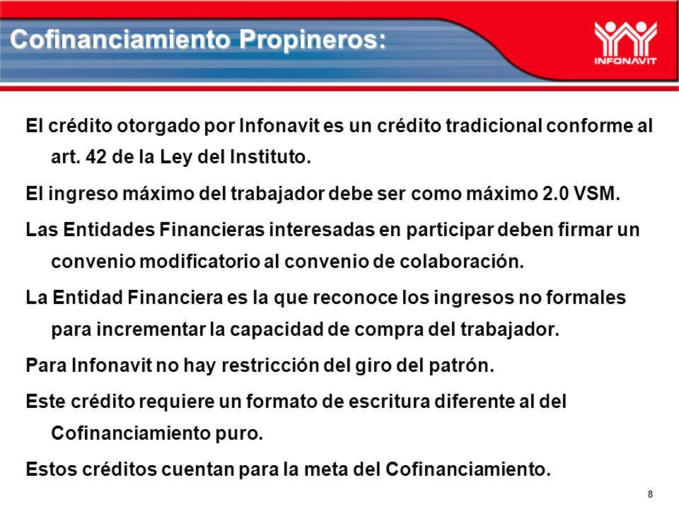 8 Cofinanciamiento Propineros: El crédito otorgado por Infonavit es un crédito tradicional conforme al art.