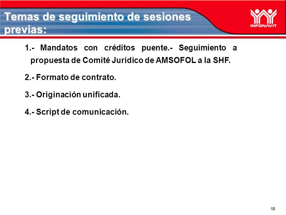 18 Temas de seguimiento de sesiones previas: 1.- Mandatos con créditos puente.- Seguimiento a propuesta de Comité Jurídico de AMSOFOL a la SHF. 2.- Fo