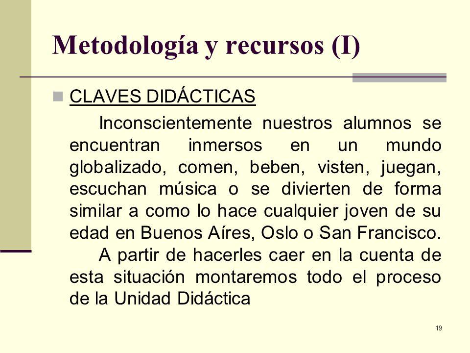 19 Metodología y recursos (I) CLAVES DIDÁCTICAS Inconscientemente nuestros alumnos se encuentran inmersos en un mundo globalizado, comen, beben, viste
