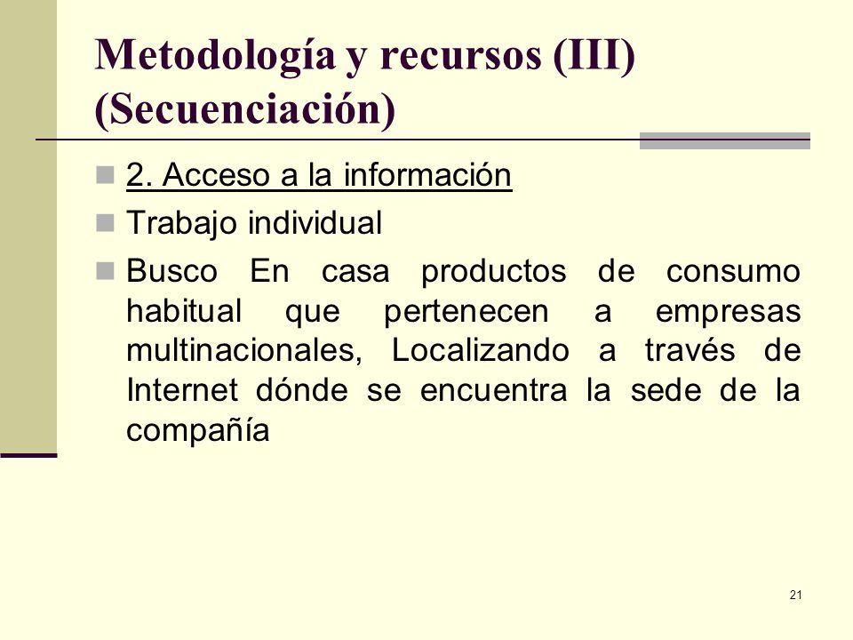 21 Metodología y recursos (III) (Secuenciación) 2. Acceso a la información Trabajo individual Busco En casa productos de consumo habitual que pertenec