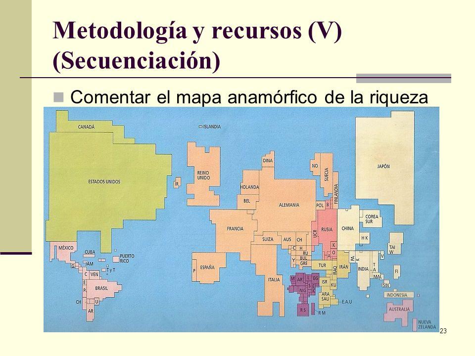 23 Metodología y recursos (V) (Secuenciación) Comentar el mapa anamórfico de la riqueza en el mundo