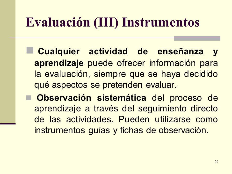 29 Evaluación (III) Instrumentos Cualquier actividad de enseñanza y aprendizaje puede ofrecer información para la evaluación, siempre que se haya deci