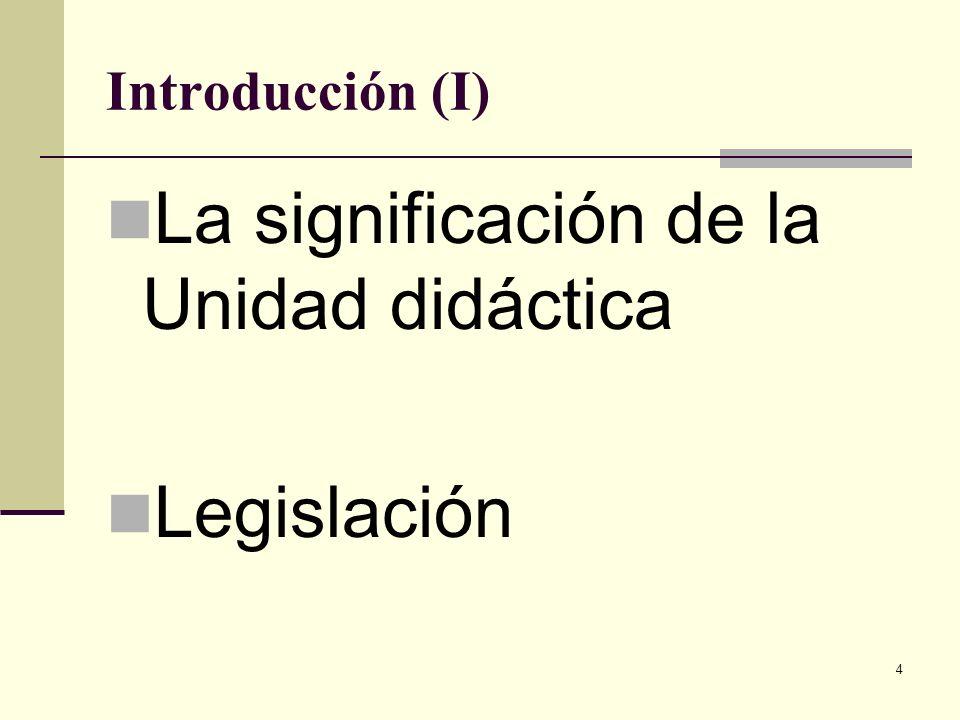 4 Introducción (I) La significación de la Unidad didáctica Legislación