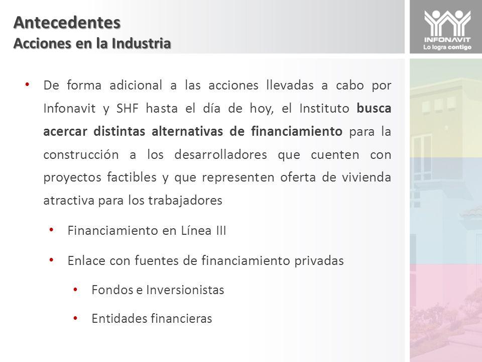 Alternativas de Financiamiento Línea III Es el crédito hipotecario de Infonavit dirigido a grupos de trabajadores derechohabientes del Instituto que desean construir su vivienda en un terreno propio Alternativa para ciudades donde no se encuentra oferta de vivienda accesible.