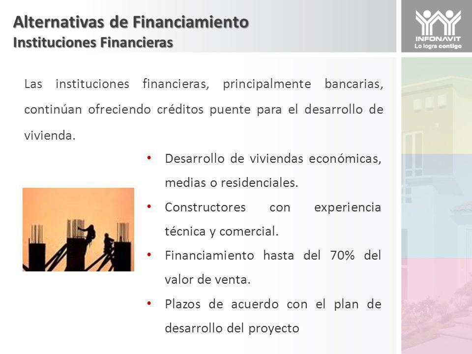 Alternativas de Financiamiento Instituciones Financieras Las instituciones financieras, principalmente bancarias, continúan ofreciendo créditos puente para el desarrollo de vivienda.