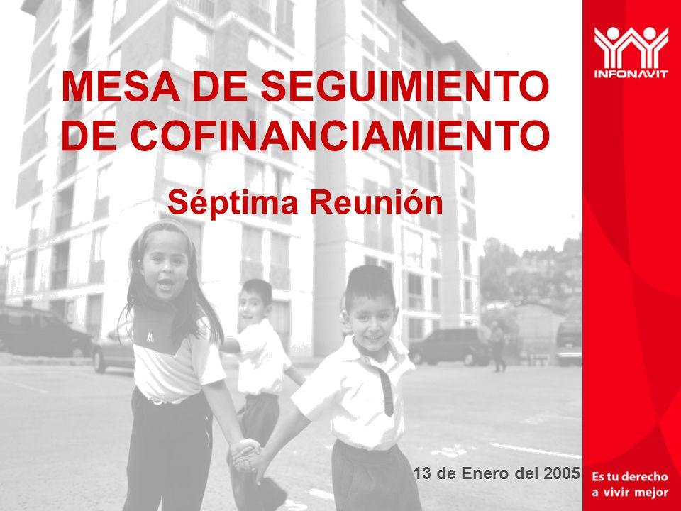 Un mejor INFONAVIT tu derecho a vivir mejor 13 de Enero del 2005 MESA DE SEGUIMIENTO DE COFINANCIAMIENTO Séptima Reunión