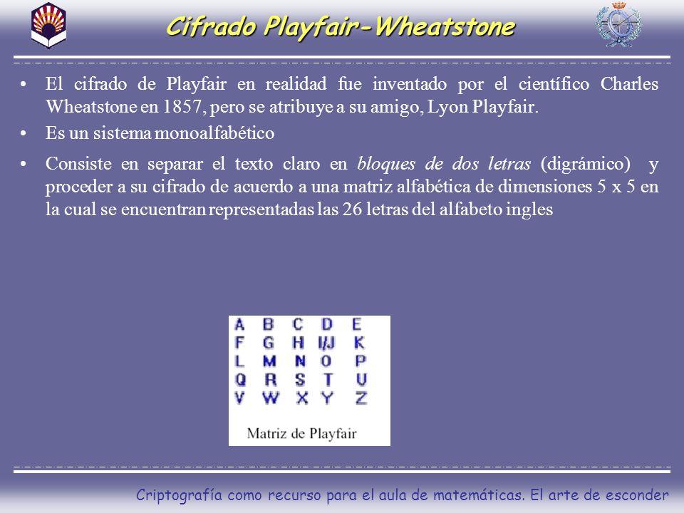Criptografía como recurso para el aula de matemáticas. El arte de esconder Cifrado Playfair-Wheatstone El cifrado de Playfair en realidad fue inventad