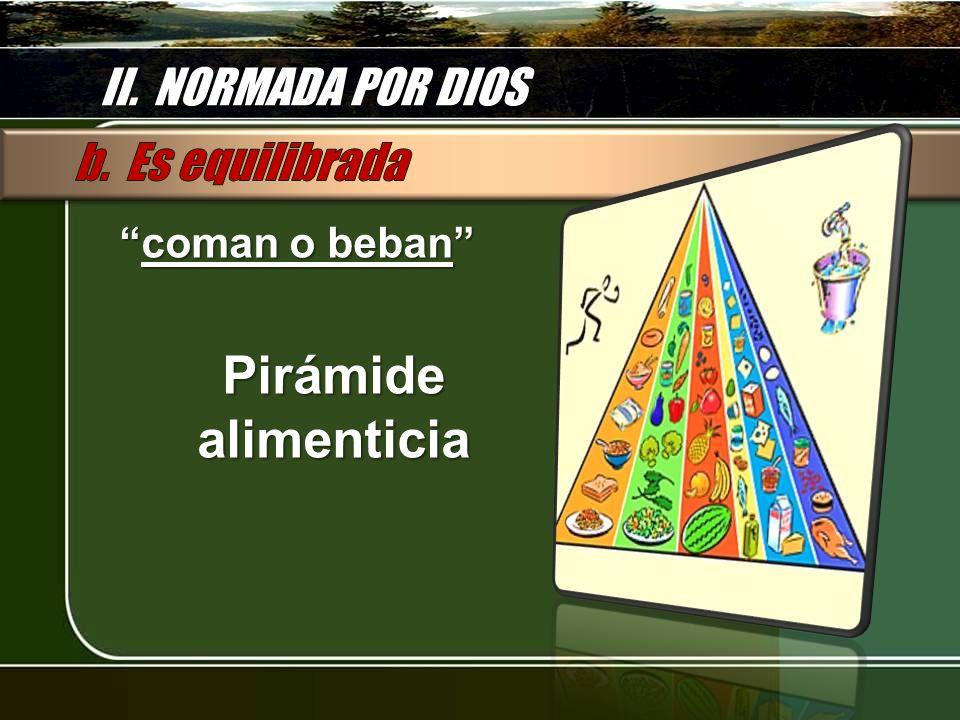 II. NORMADA POR DIOS coman o bebancoman o beban Pirámide alimenticia
