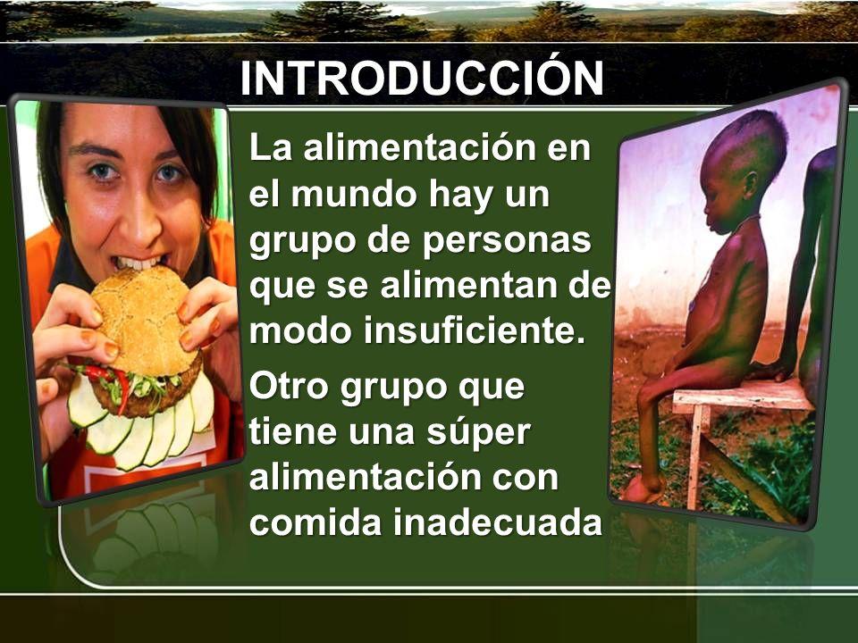 INTRODUCCIÓN La alimentación en el mundo hay un grupo de personas que se alimentan de modo insuficiente. Otro grupo que tiene una súper alimentación c