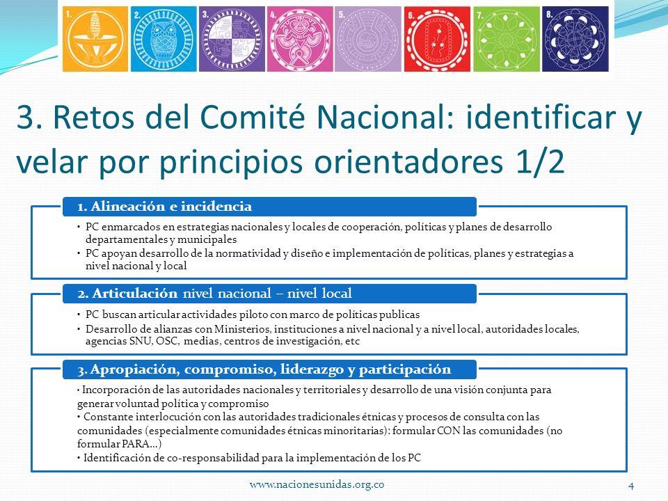 3. Retos del Comité Nacional: identificar y velar por principios orientadores 1/2 PC enmarcados en estrategias nacionales y locales de cooperación, po