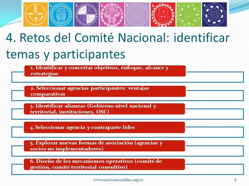 4. Retos del Comité Nacional: identificar temas y participantes 1.