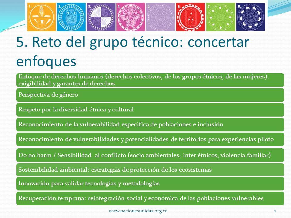 5. Reto del grupo técnico: concertar enfoques Enfoque de derechos humanos (derechos colectivos, de los grupos étnicos, de las mujeres): exigibilidad y