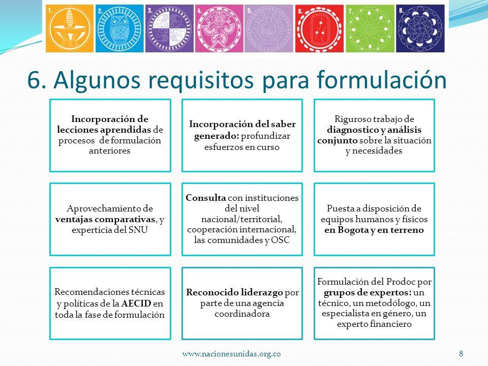 6. Algunos requisitos para formulación Incorporación de lecciones aprendidas de procesos de formulación anteriores Incorporación del saber generado: p
