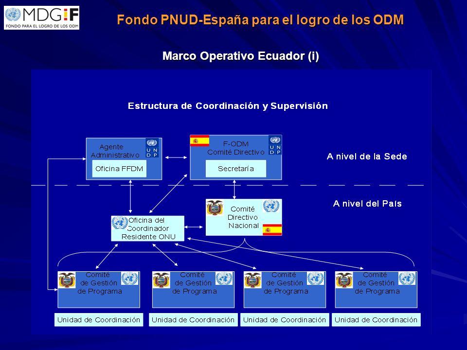 Fondo PNUD-España para el logro de los ODM Fondo PNUD-España para el logro de los ODM Marco Operativo Ecuador (i)