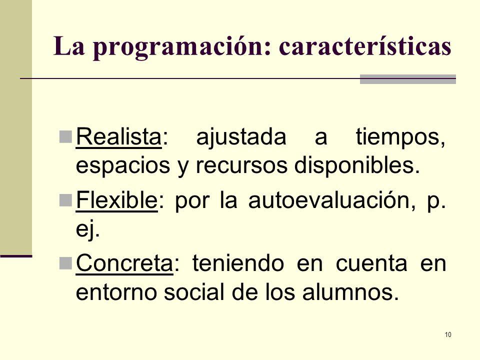 10 La programación: características Realista: ajustada a tiempos, espacios y recursos disponibles. Flexible: por la autoevaluación, p. ej. Concreta: t
