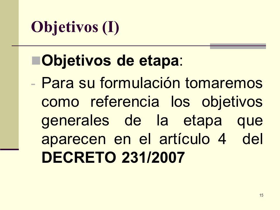 15 Objetivos (I) Objetivos de etapa: - Para su formulación tomaremos como referencia los objetivos generales de la etapa que aparecen en el artículo 4