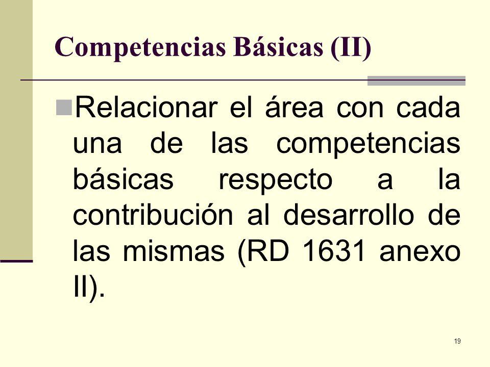 19 Competencias Básicas (II) Relacionar el área con cada una de las competencias básicas respecto a la contribución al desarrollo de las mismas (RD 16