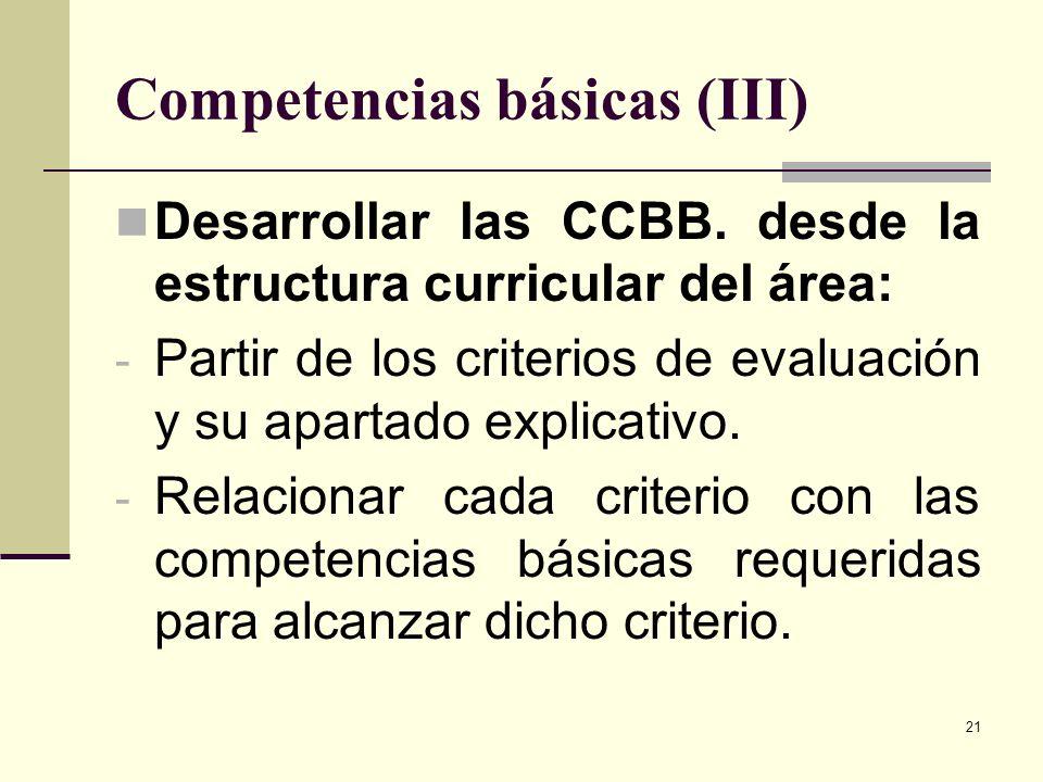 21 Competencias básicas (III) Desarrollar las CCBB. desde la estructura curricular del área: - Partir de los criterios de evaluación y su apartado exp