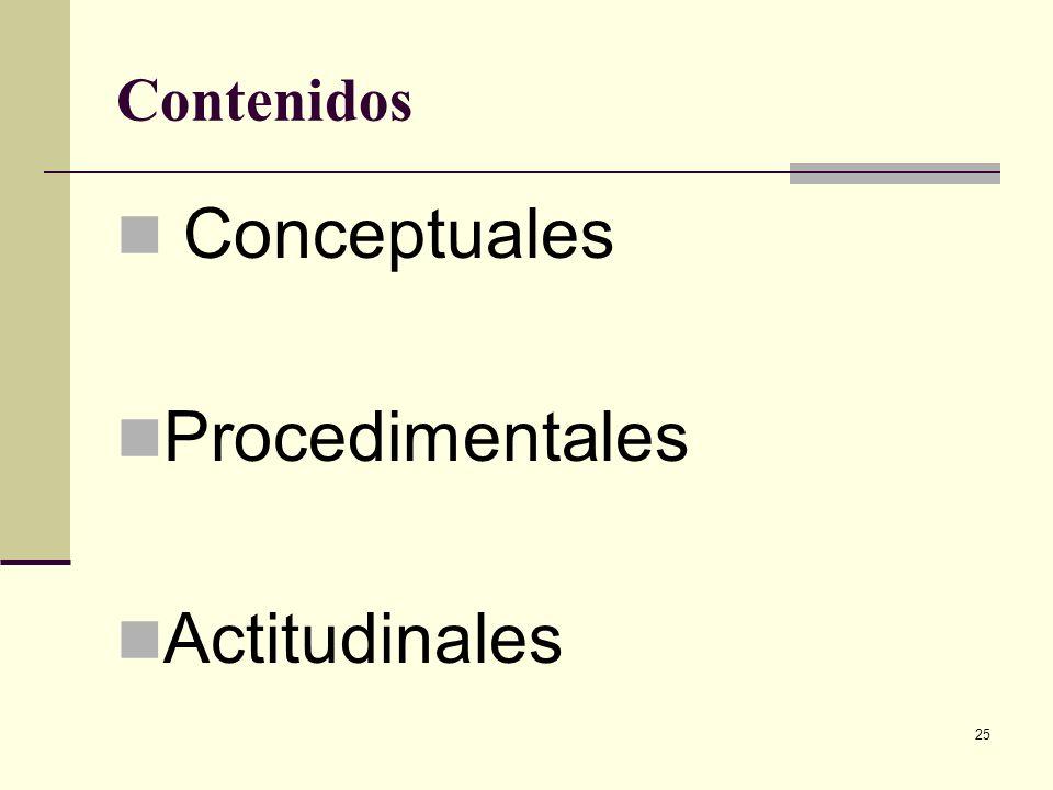 25 Contenidos Conceptuales Procedimentales Actitudinales