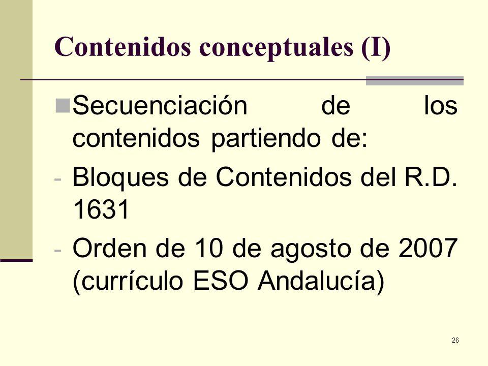 26 Contenidos conceptuales (I) Secuenciación de los contenidos partiendo de: - Bloques de Contenidos del R.D. 1631 - Orden de 10 de agosto de 2007 (cu