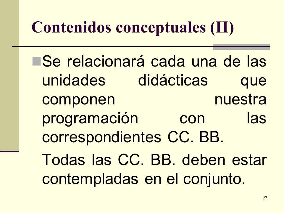 27 Contenidos conceptuales (II) Se relacionará cada una de las unidades didácticas que componen nuestra programación con las correspondientes CC. BB.