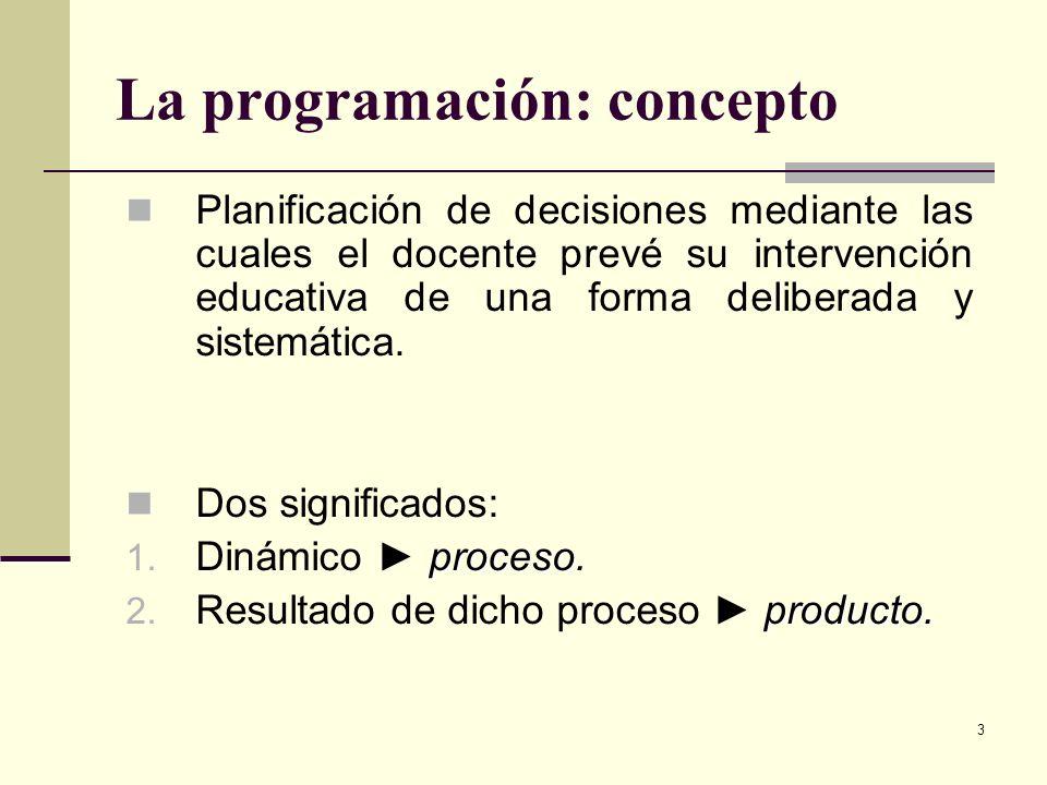 3 La programación: concepto Planificación de decisiones mediante las cuales el docente prevé su intervención educativa de una forma deliberada y siste